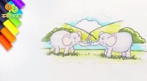 两只大象来拔河儿歌简笔画: 鼻子当绳子, 耳朵当扇子