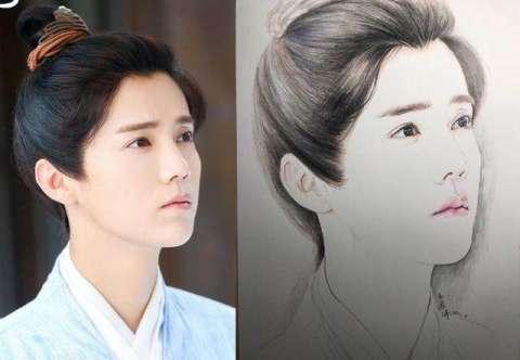 手绘版的明星肖像, 赵丽颖的美腻了, 杨幂的发际线咋又高了