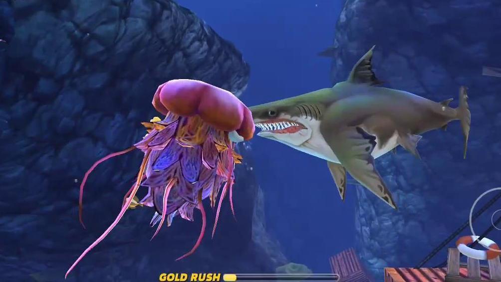 饥饿鲨世界: 巨齿鲨挑战深海大水母结局会发生什么?