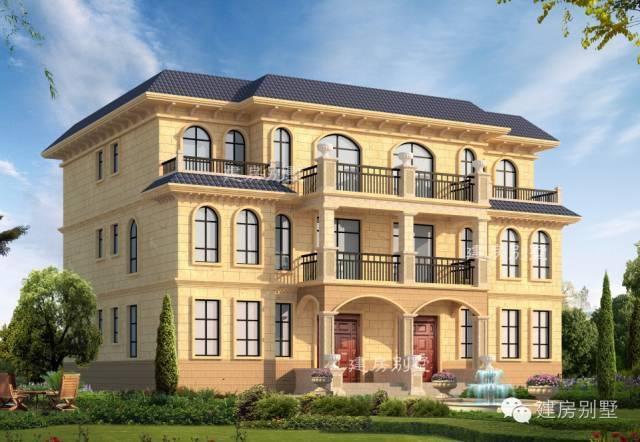 外观整体采用欧式建筑风格设计,别墅为三层双拼别墅,占地尺寸为开间1