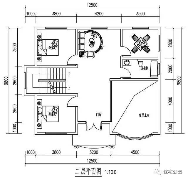 5x9.8米农村别墅, 挑空客厅 落地窗,大露台