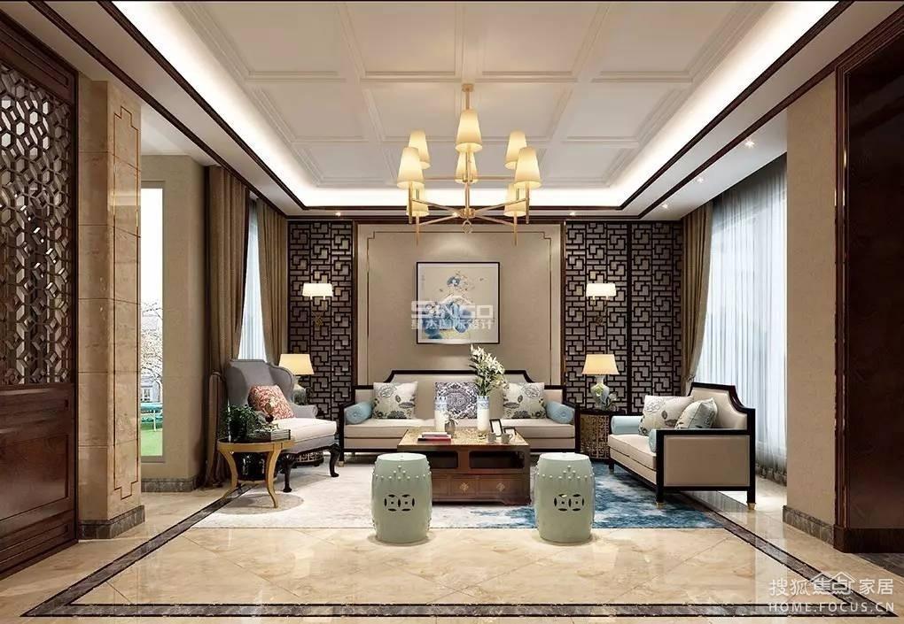 别墅设计新中式风客厅 | 典雅之下, 居的是品味