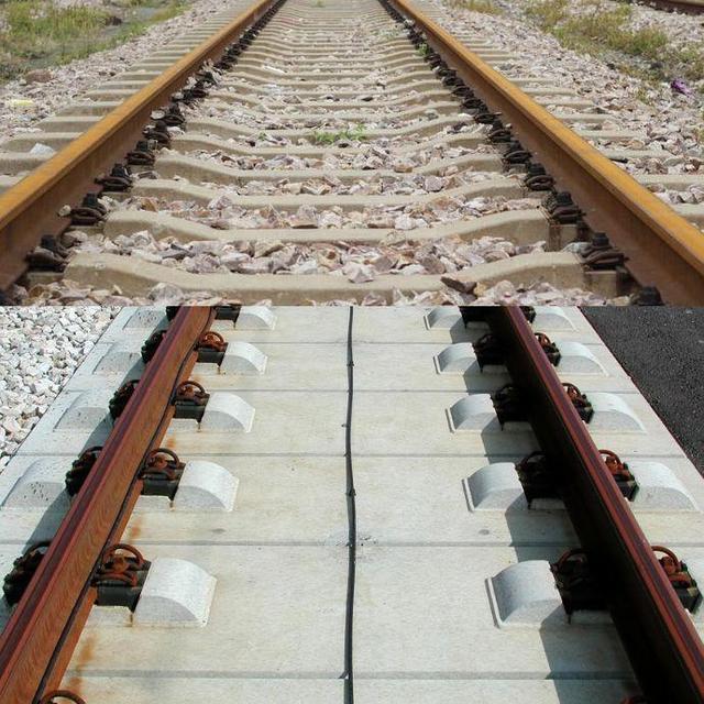 为什么一般普快列车轨道下有碎石, 而高铁没有?