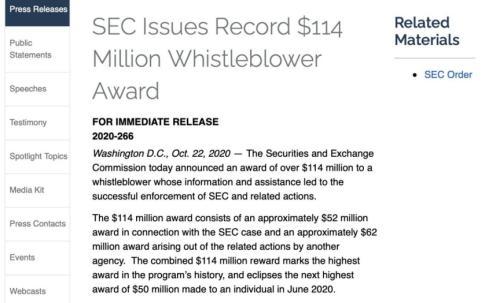 舉報獲7.62億元獎勵! 美國SEC向一人發放天價獎勵 這是舉報瞭啥?-圖2
