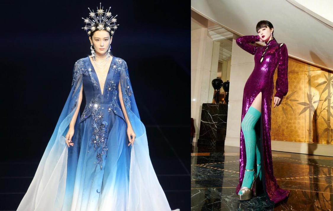 張馨予首登舞臺走秀, 頭戴皇冠穿藍色紗裙優雅高貴, 艷壓范冰冰-圖15