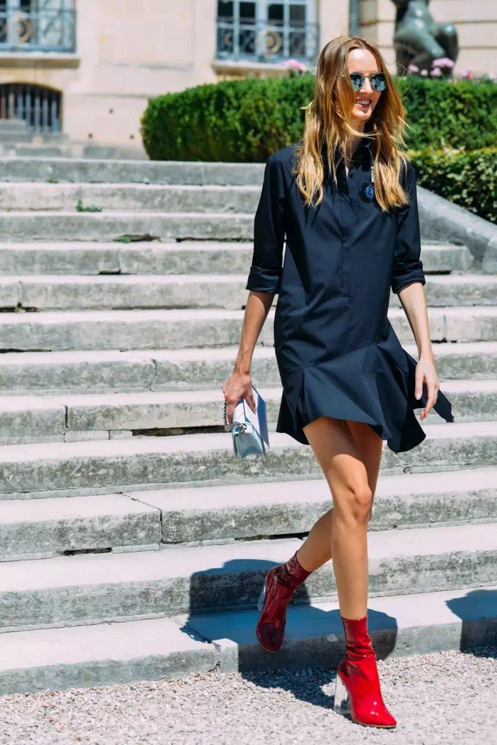 裙子+短靴才是初秋最时髦搭配! 9