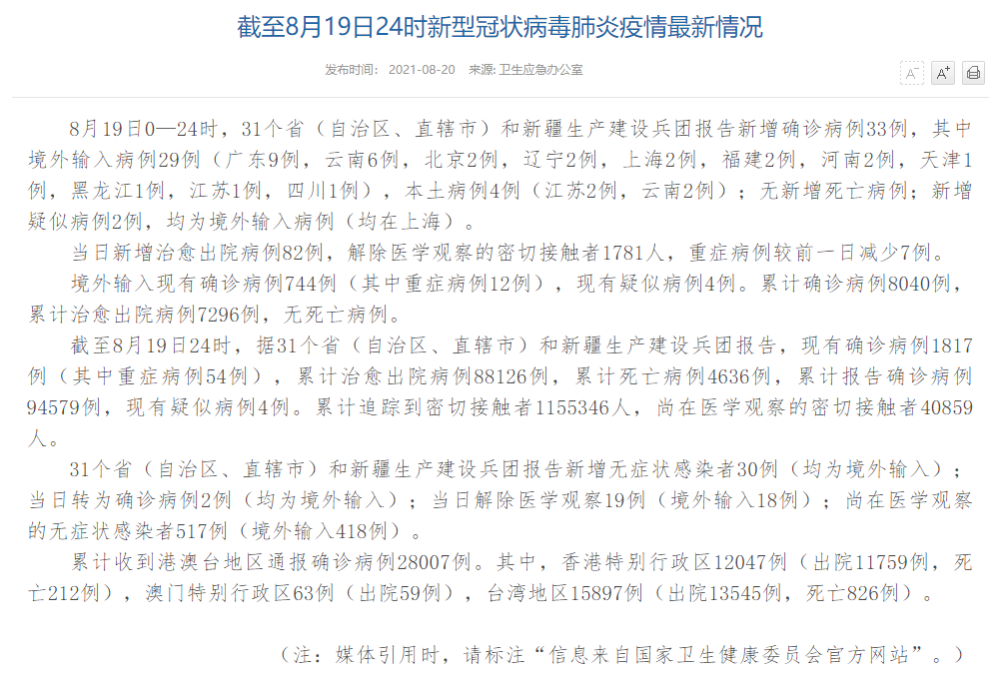 國傢衛健委:19日新增確診病例33例 其中本土4例-圖1