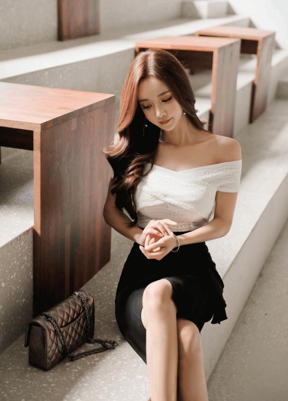 孙允珠黑色鱼尾裙, 衬托出菇凉们的肤白貌美 5