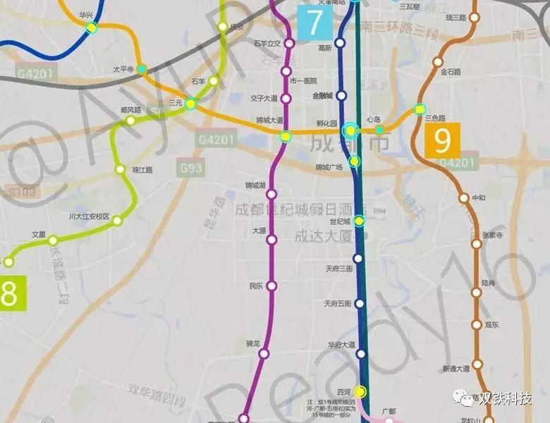 2、成都地铁2号线:西段止步犀浦,未出绕城.东段大面铺冲出绕城,图片