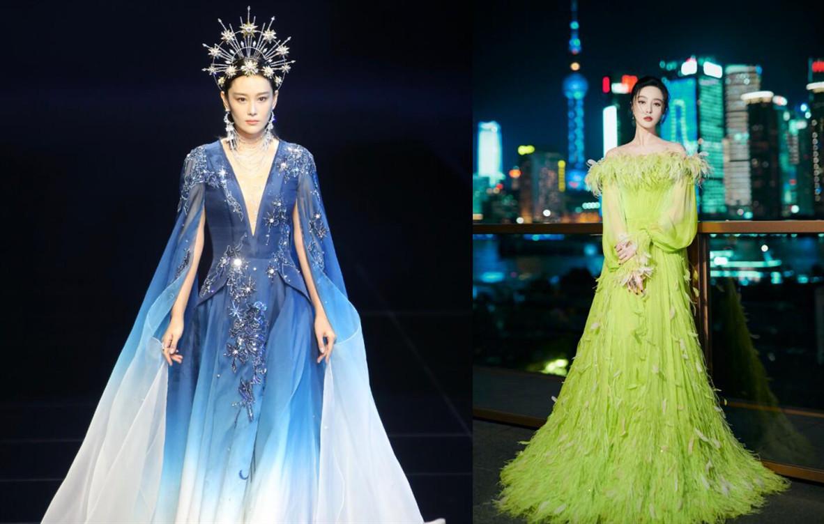 張馨予首登舞臺走秀, 頭戴皇冠穿藍色紗裙優雅高貴, 艷壓范冰冰-圖14