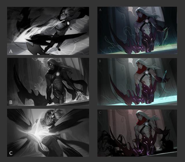 LOL新版韦鲁斯的原画创作历程: 三种场景, 最终选择了这个!