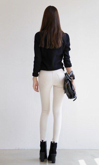 简单紧身裤, 照样美的让人想要穿搭, 气质增添不少