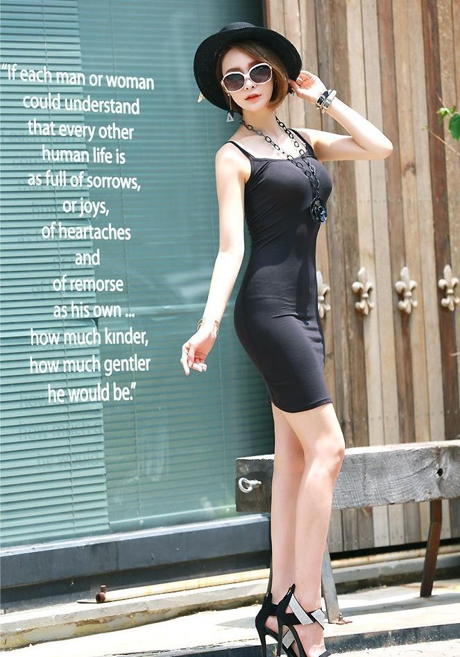 街拍吊带连衣裙, 这小身材第二天容易起不来床