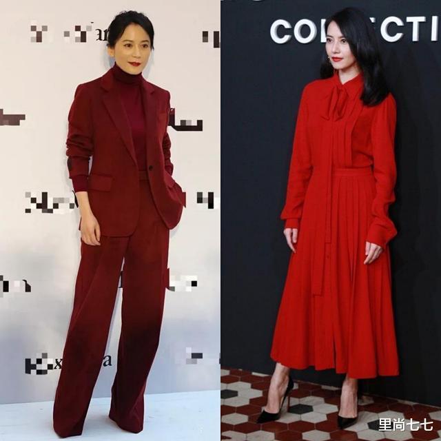 朱珠也太瘦瞭, 一襲紅裙同框周一圍現身活動, 蠻腰和頭基本同寬-圖7