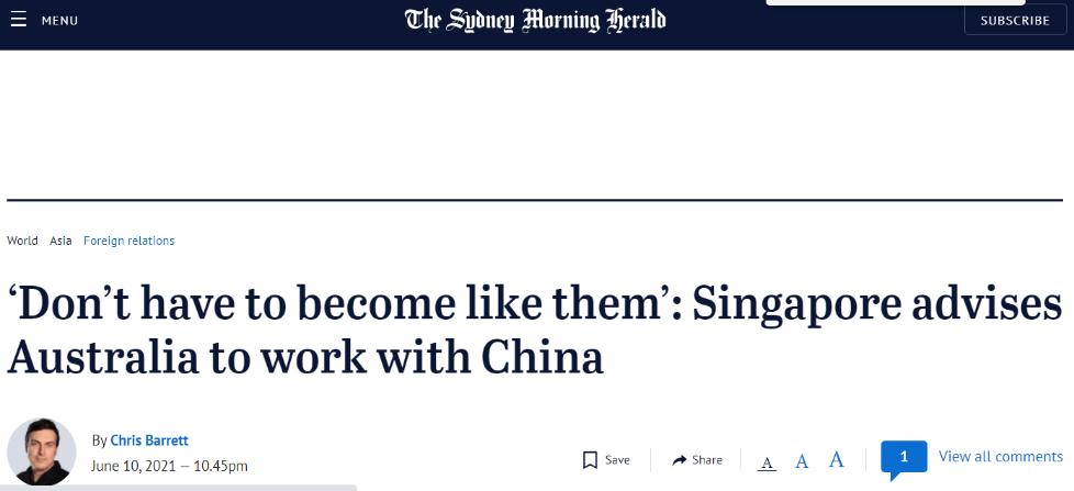 澳媒稱李顯龍當面告訴莫裡森: 我們必須學習與中國共處-圖2