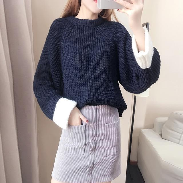 毛衣+皮裙子! 这样穿不显青春时髦也是好难~ 3