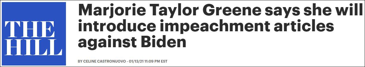美共和黨眾議員放話: 將在總統就職典禮第二天提議彈劾拜登-圖1