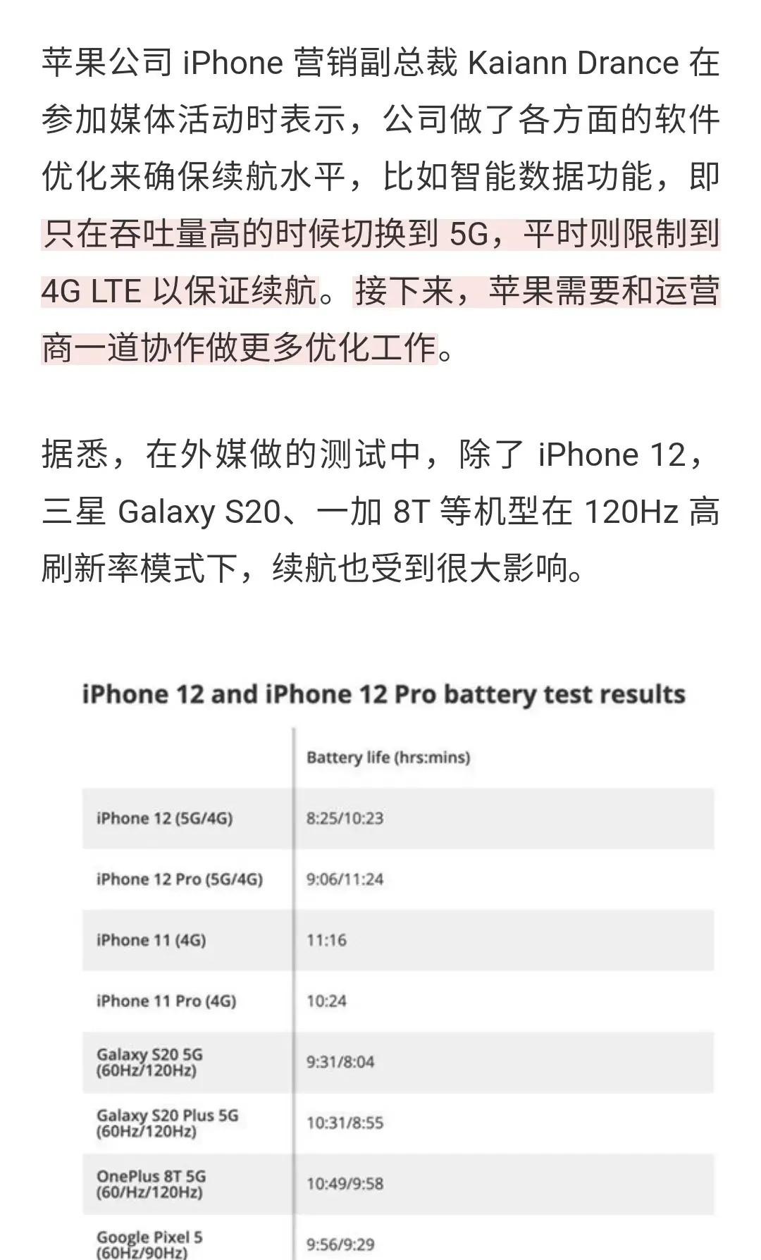 iPhone 12 Pro使用5G網絡, 續航崩瞭, 蘋果回應-圖3