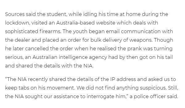 印度學生閑得無聊在外國網站訂購武器, 驚動兩國情報機構-圖2