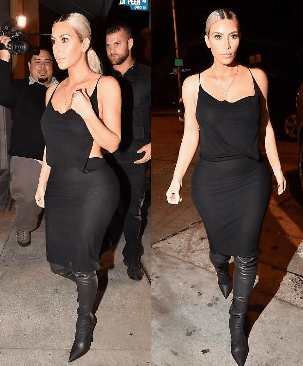 金·卡戴珊西好莱坞与友会餐, 黑色连衣裙出镜, 显现完美腰身 3