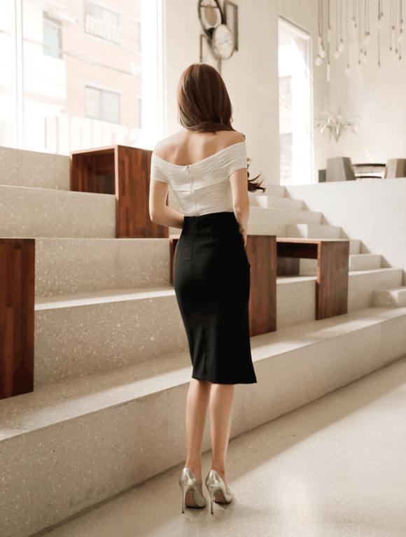 孙允珠黑色鱼尾裙, 衬托出菇凉们的肤白貌美 6