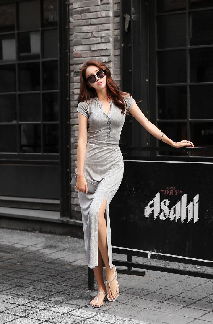 系扣式长款连衣裙, 穿出火辣好身材。 5