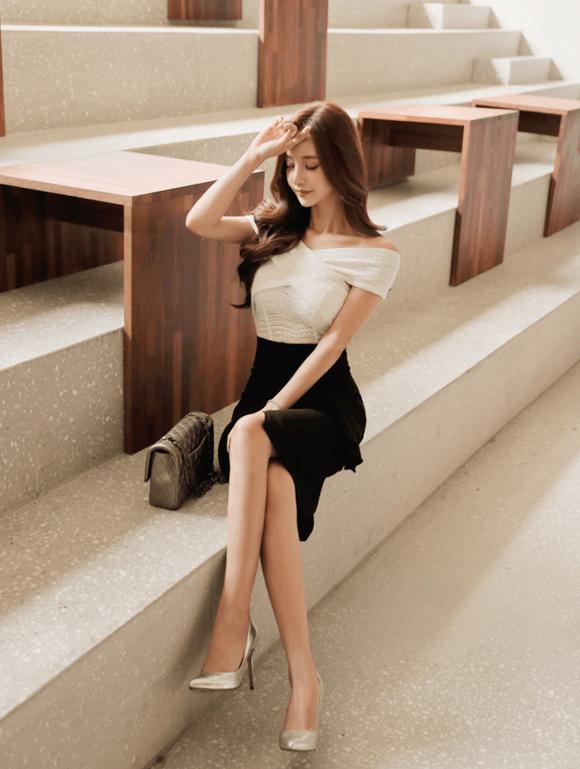 孙允珠黑色鱼尾裙, 衬托出菇凉们的肤白貌美 1