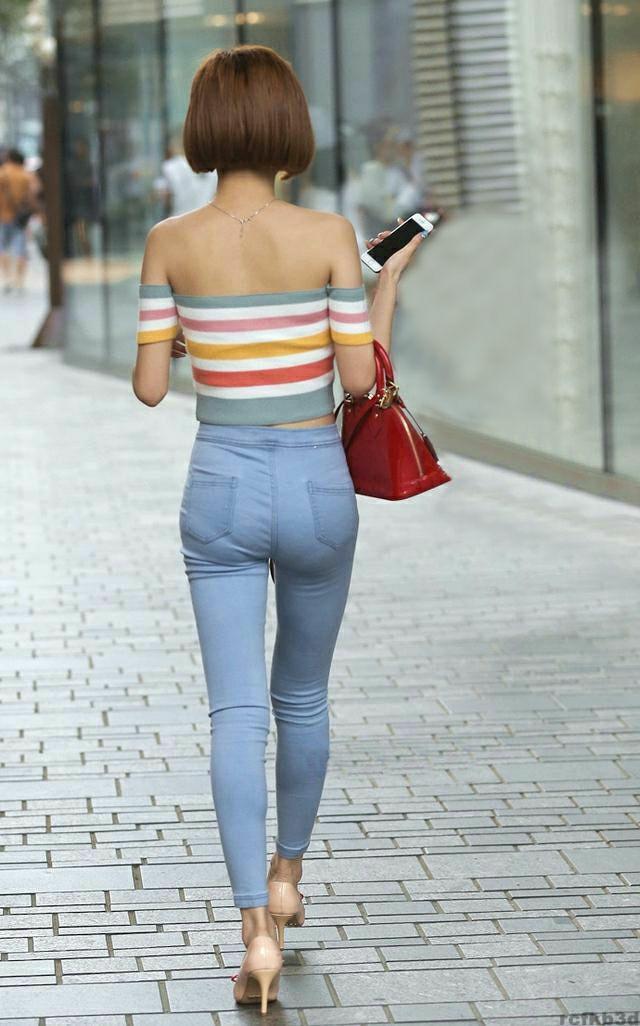 牛仔裤唯美清新, 秀曲线身材